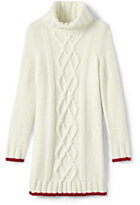 Classic Little Girls Cowlneck Cable Sweater Dress-Bavarian Creme