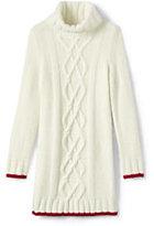 Lands' End Little Girls Cowlneck Cable Sweater Dress-Bavarian Creme