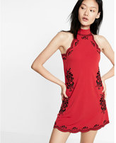 Express embroidered trapeze hem dress