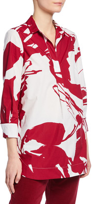 Piazza Sempione Graphic-Print Henley Tunic, Red