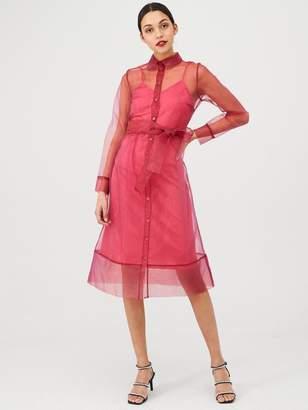 Very Organza Tie Waist Dress - Pink