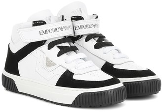 Emporio Armani Kids Leather high-top sneakers