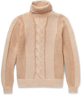 Loro Piana Cable-knit Camel Hair Rollneck Sweater - Camel