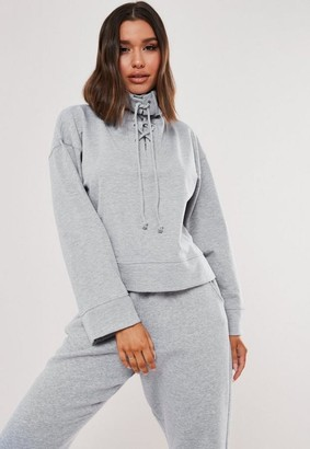 Missguided Gray High Neck Lace Up Sweatshirt