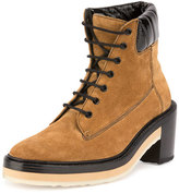Pierre Hardy Working Girl Suede Lace-Up Boot, Camel