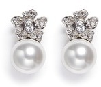 Kenneth Jay Lane Glass pearl crystal pavé floral clip earrings