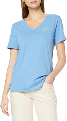 True Religion Women's Vneck Tshirt Reflective HORSESHOELICHEN T-Shirt