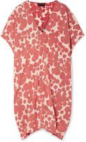 Hatch Slouch Floral-print Crepe Dress - Brick