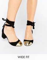 Asos SHOW TIME Wide Fit Ribbon Lace Up Heels