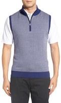 Bobby Jones Quarter Zip Herringbone Merino Wool Sweater Vest