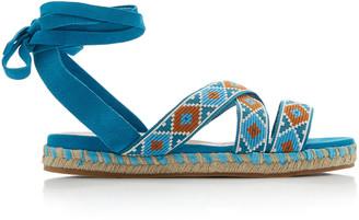 Miu Miu Wrap-around Suede Sandals