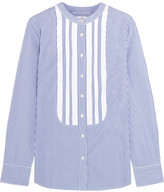 J.Crew + Thomas Mason Grosgrain-trimmed Striped Cotton-poplin Shirt - Blue