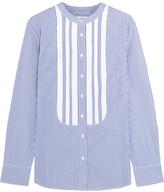 J.Crew Thomas Mason Grosgrain-trimmed Striped Cotton-poplin Shirt - US8