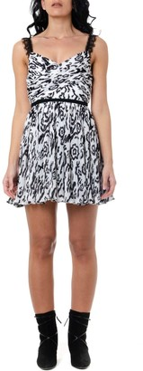 Self-Portrait White & Black Floral Printed Pleated Dress