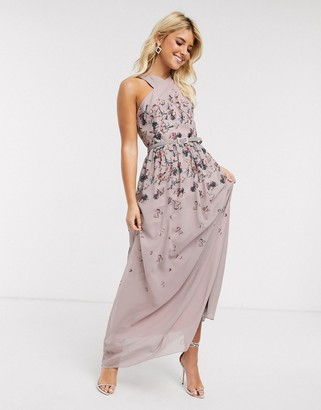 Little Mistress pleat maxi dress in butterfly print