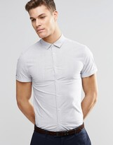 Asos Skinny Shirt In Fine Stripe With Short Sleeves
