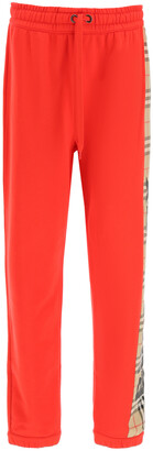 Burberry RAINE TROUSERS WITH CHECK INSERT M Red, Beige, Black Cotton