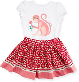 Kate Spade Cap-Sleeve Monkey Tee W/ Floral Skirt, Cream, Size 12-24 Months