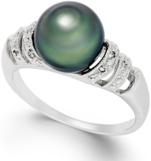 Belle de Mer Tahitian Pearl and Diamond Accent Ring in Sterling Silver (9mm)