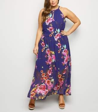 New Look Curves Floral Halterneck Dress