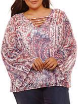 BELLE + SKY Long Sleeve V Neck Woven Blouse-Plus