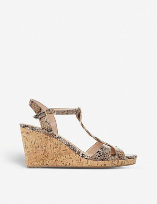 Dune Koala snakeskin-embossed leather wedge sandals