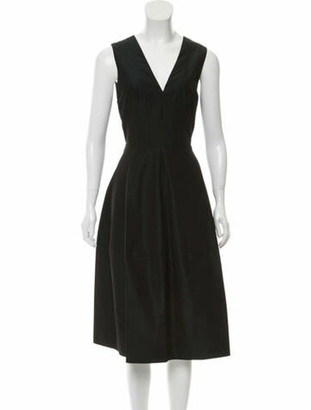 Narciso Rodriguez V-Neck Midi Length Dress w/ Tags Green