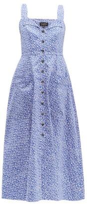 Saloni Fara Printed Cotton-blend Dress - Womens - Blue Multi