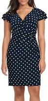 Lauren Ralph Lauren Plus Size Women's Polka Dot Jersey Sheath Dress