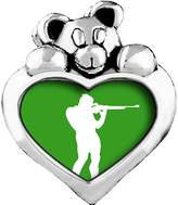 GiftJewelryShop Olympics athlete shooting target Sapphire Crystal September Birthstone I Love You Heart Care Bear Charm