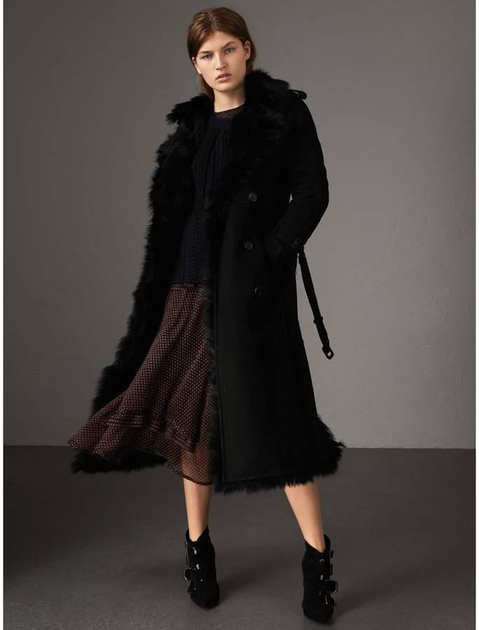 Burberry Shearling Long Trench Coat