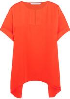 Diane von Furstenberg Abbi Silk-crepe Top - Tomato red