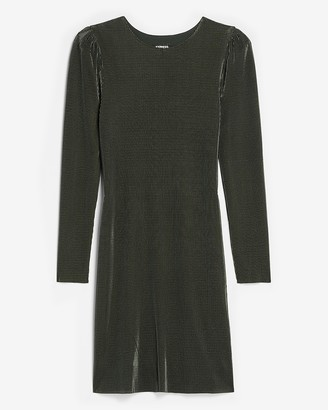 Express Pleated Puff Shoulder Shift Dress
