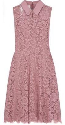 Valentino Crepe-trimmed Cotton-blend Corded Lace Mini Dress