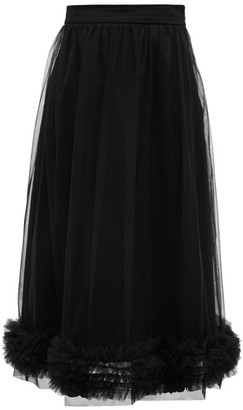 Molly Goddard Leonie Ruffled Tulle Midi Skirt - Womens - Black