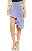 J.o.a. Stripe Asymmetric Poplin Skirt