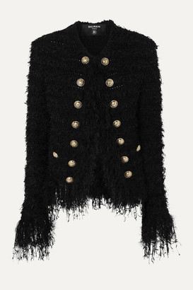 Balmain Fringed Tweed Blazer - Black