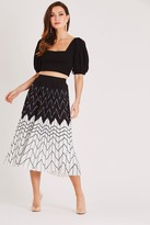 Skirt & Stiletto Black and White Printed Pleated Skirt