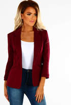 Pink Boutique Lady Boss Burgundy Fitted Blazer