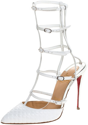Christian Louboutin White Leather Kadreyana Strappy Sandals Size 36.5