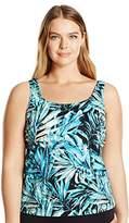 Maxine Of Hollywood Women's Plus Size Twilight Tropical Scoop Neck Tankini