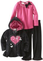 Nannette Girls 2-6X Heart 3 Pack Velour Zip Hoodie Set