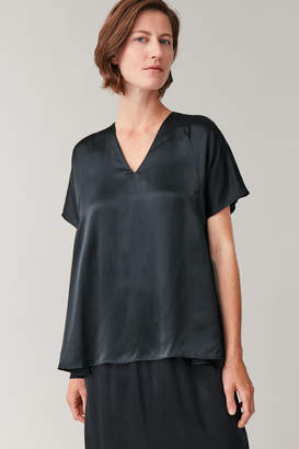 Cos PLEATED MULBERRY SILK TOP