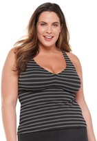 Chaps Plus Size Textured Stripe Tankini Top