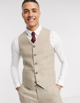 ASOS DESIGN wedding slim suit waistcoat in wool mix herringbone in camel