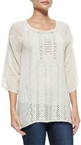 Johnny Was Liya 3/4-Sleeve Georgette Tunic, Shell
