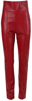 Alexandre Vauthier Red High Waist Leather Pants