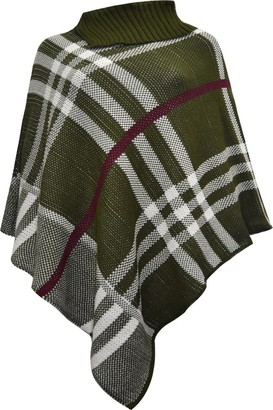 Missmister Ladies Womens Winter High Polo Neck Knitted Tartan Check Poncho Shawl Sweater Jumper Wrap Cape - (UK 8-16) (One Size (UK 8-16)
