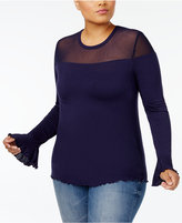 Planet Gold Trendy Plus Size Illusion Top
