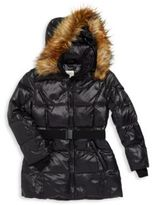 S13/Nyc Girl's Quilted Faux Fur-Hooded Parka